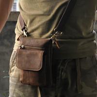 Wholesale Small Belt Bags - Men Waist Bag Crazy Horse Leather Small Waist Bag For Biking Outdoor Activity Oil Wax Leather Waist Belt Bag Wholesale