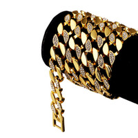 Wholesale Singapore Fines - 128g Heavy 24K Solid Gold Plated MIAMI CUBAN LINK Extra-coarse Exaggerated Shiny Diamante Necklace Hip Hop Fine Jewelry Hipster Men Chains