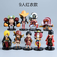 tek parça aksiyon figürleri zoro toptan satış-Anime One Piece Mini Aksiyon Figürleri Hasır Şapkalar Luffy / Roronoa / Zoro / Sanji / Chopper Şekil Oyuncaklar 9 ADET