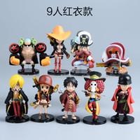 zoro sanji venda por atacado-Anime One Piece Mini Figuras de Ação Os Chapéus De Palha Luffy / Roronoa / Zoro / Sanji / Chopper Figura Brinquedos 9 PCS