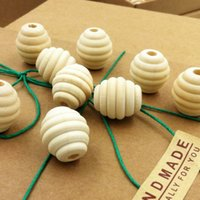 Wholesale Wood Beads Oval - 100 PCS 22mm x 20 mm wooden beads Unfinished Natural Screw thread bead stripe Ball Shaped DIY wooden fitting EA16
