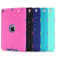 Wholesale 3d Tablet Pc China Wholesale - 3D Rhinestone Hard PC Silicone Case Diamond Bling Armor Hybrid 3 in 1 Shockproof Heavy Duty Defender For Ipad 2 3 4 5 Air Tablet Skin Luxury