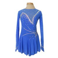 Wholesale girls figure skating - New Collection Modern Jewel Neck Long Sleeve Figure Skating Dresses Custom Made Beaded Ice Skating Spandex Dress Hot Selling