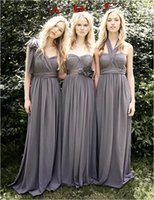 Wholesale Wendy Dress - 2017 Wendy Grey Bridesmaid Dresses Favorable Convertible A Line Three Styles For Choice Sweep Train Chiffon Junior Bridemaid Girls' Dre
