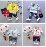 Wholesale Korean Suit For Kids - Fashion 2017 new baby autumn suit baby girls boys lonf sleeve sewater+pants 2pcs suit Korean style for kids 3-8T top quality