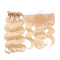 Wholesale Color 12 613 Hair - 9A Grade 613 Blonde Bundles With Frontal Ear To Ear Human Hair With Frontal Closures Brazilian Virgin Hair Frontal With Bundles Body Wave