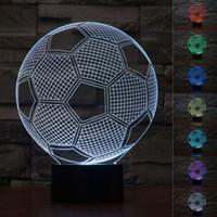 Wholesale Electronics World - 3D electronic lighting Nightlight Creative Children's World Cup football shape colorful LED lamp mini table lamp