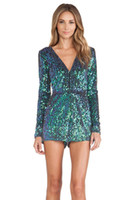 Wholesale Green Color Samples - Club Wear Green Sequins Long Sleeve Ladies Romper Jumpsuit Sample Purchase