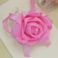 Wholesale Decorating Silk - Wedding wrist flower party wrist decoration artificial flowers decorated with ribbon and lace four color free shipping