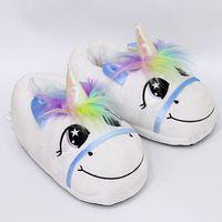 Wholesale Rainbows Flip Flops - Plush Rainbow Unicorn Slippers Adult Indoor Furry Fur Cute Winter Warm Flip Flop Shoes Soft Cosplay Slipper 2pcs pair 50 Pairs OOA3149