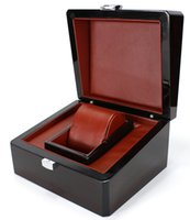 Wholesale Storage Box Case Wood - Luxury Brand Wood Box for Watch certificate Top Gift Jewelry Bracelet Bangle Boxes Display Black Spray paint Storage Case Pillow