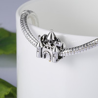 Wholesale Glass Cubes Jewelry - 925 Sterling Silver European Charms Bead Beautiful Castle Charm Compatible With Snake Chain Bracelet Fashion Female DIY Jewelry