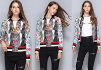 Wholesale High End Fashion Clothing Wholesale - High-end Women's Clothing Autumn Winter Jackets Leopard Flower Print Splicing Hit Color Embroidery Beads With Zipper Durable
