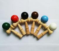 fedex oyunları ücretsiz toptan satış-DHL / Fedex Ücretsiz Yeni Büyük boy 18 * 6 cm Bilboquet Topu Japon Geleneksel Ahşap Oyun Oyuncak Eğitim Hediye Çocuk oyuncakları 6 renkler B001