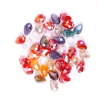 Wholesale Crystal Drop Loose Beads - 100pcs 8*6 mm Multicolored Faceted Drop Glass Crystal Loose Spacer Beads For DIY Jewelry Making Bracelets