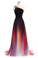 ingrosso vestiti da sera di ombre-2017 Nuovo Elegante A-Line Sexy Una spalla Ombre lunghi Prom Dresses Chiffon abiti da sera formale del partito WD1014