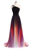 ombre balo elbise şifon toptan satış-2017 Yeni Zarif A-Line Seksi Bir Omuz Ombre Uzun Gelinlik Modelleri Şifon Örgün Akşam Partisi Törenlerinde WD1014