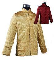 Wholesale Men S Formal Coats - Wholesale- Burgundy Gold Men Reversible Silk Jacket Chinese Satin Kung Fu Coat Two-side Outwear Tang Suit S M L XL XXL XXXL MJ037