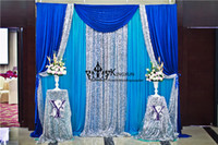 Wholesale Cheap Wedding Curtains - Cheap Price 3M*3M Turquoise Color Wedding Backdrop Curtain With Sequin Fabric For Sale
