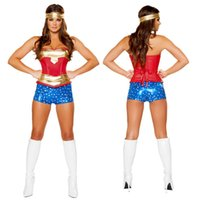 Wholesale Sexy Woman Cosplay - Wholesale-Wonder Women Sexy Costume Roma Heroine Hottie Captain Hero America Halloween Costumes Superwoman Cosplay S M L XL XXL