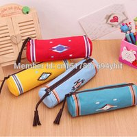 Wholesale-Hot New Indiana Estilo Canvas Tecido Cilindro lápis Bolsas Pencil Pouch Stationery Make Up Bags