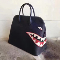 Wholesale H Genuine Leather Handbags - Luxury Real Women's Litchi Cowhide Genuine Leather Bags Famous Brand sharks Tote Shoulder Bags Designer Handbags High Quality Women H&K Bags
