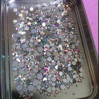 tırnak sanatları toptan satış-Mix Boyutları 1000pcs / Paketi Crystal Clear AB Dışı Düzeltme Flatback Rhinestones Nail Rhinestoens İçin Çiviler 3D Nail Art Dekorasyon Mücevher