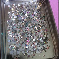 Tailles de mélange 1000PCS / Pack Crystal Clear AB Non Hotfix Flatback Strass Nail Rhinestoens For Nails 3D Nail Art Decoration Gems