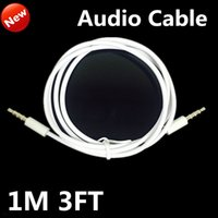1M los 3FT de coches Aux auxiliar de extensión de audio estéreo de 3,5 mm Jack Cable Masculino Ronda cordón blanco para el iphone Samsung de iPod altavoz Tablet PC