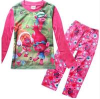Wholesale Grils Sets - Trolls grils pajamas children pajamas Christmas children's pajamas children's clothing sets Girls Home Clothes Sets