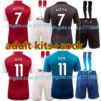 Wholesale Red Home Soccer Jersey - 2017 2018 new Gunners armory OZIL soccer jersey+sock 17 18 kit ALEXIS WILSHERE GIROUD CHAMBERS XHAKA home soccer shirt kits