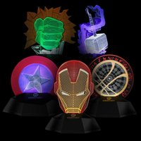 Wholesale Projection Lights For Kids - Marvel avengers LED Light bedroom living room 3D Iron man creative lamp decorated with light night light Led toys for kids christmas gift
