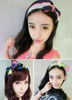 Wholesale Korean Large Hair Bands - Manufacturers selling Korean Large Bow HeadManufacturers Selling Korean Large Bow Headband Girls Fashion Floral Hoop Tiara Hot Jewelry Gifts
