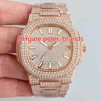 Wholesale fashion watch ice for sale - Full iced out hip hop rappers watch automatic best grade men s luxury wristwatch stainless steel rose gold Full diamonds case mm watches
