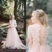 Wholesale Open Back V Neck Lace - 2017 Country Wedding Dresses Deep V Neck Blush Pink Illusion Lace Open Back Long Sleeves Wedding Dress Tulle Bridal Gowns
