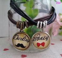 Wholesale Valentine Times - Valentine Day gift Couple bracelets Leather cord Time Gem pendant Bracelet jewelry for lovers Retro charm Bracelet Multiple styles