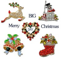 Wholesale socks wholesale china - 2016 New Fashion Christmas Brooches DEER SNOW MAN Socks Bell Crystal Brooches and Pins For Children Women Men Mix Wholesale 12pcs lot