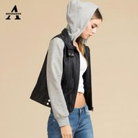 Wholesale Womens Leather Hooded Jacket - Wholesale- UUV Brand Womens Leather Jackets and Coats Short Patchwork With Hat Silm Casual Hooded Leather Jacket JS130103799