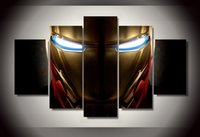paint helmet - 5 Panel HD Printed iron man helmet Movie Painting wall art Canvas Print room decor print poster picture canvas wall pictures