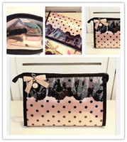 Wholesale Korean Ladies Hand Bags - MB-04 Lace dot PVC waterproof make-up bag lady hand bag, ladies makeup pouch, beauty girls cosmetic bags for women