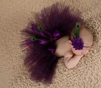 Wholesale Animal Pettiskirt - Pettiskirt Peacock Infant Costume Outfit Princess Tutu Skirt Matching Headband New Newborn Baby Fashion Tutu Design Photography Props A5769