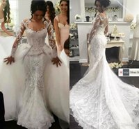 Wholesale Detachable Wedding Sleeves - Luxury Middle East Mermaid Wedding Dresses 2016 Sheer Long Sleeves Lace Bridal Gowns Trailing With Detachable Overskirts Wedding Dresses
