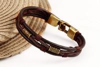 Wholesale Vintage Lucite Bangle Bracelet - Women Men's Charms Bracelets Vintage Gold Plated Leather Rope Weave Bracelets Bangles Punk Wrap Bracelets Statement African Jewelry Bijoux