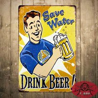 "Wholesale Decoration Water Wall - "" SAVE WATER DRINK BEER "" Metal signs Plaque Bar House Wall Decor Beer Signs Iron Painting"
