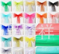 Wholesale Spandex Ruffle Chair Covers - 2016 Chair Sash for Weddings with Big 3D Organza Ruffles Delicate Wedding Decorations Chair Covers Chair Sashes Wedding Accessories YS3