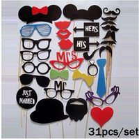 Wholesale Wedding Favors Models - 31pcs Set Funny Beard Lip Wedding Decoration Colorful Photo Booth Props Birthday Party Decor Favors Creative Modelling