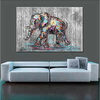 Wholesale Elephants Wall Decor - Wall Decoration Living Room Bedroom Elephant Wall Decor Unframed Canvas Paintings Spray Prints For Home Decorations Wholesale 2 Sizes