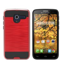Wholesale Tru Fit Wholesale - Dual Layer Combo Armor Cell Phone Protection Hybrid Case For Alcatel One Touch Stellar Tru Dawn Streak 5027B Cover shell skin Shockproof