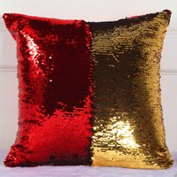 Wholesale Bling Weave - Pillow Case two-tone Rainbow Magic Sequins Boster case bling paillette Cushion Cover Christmas Gifts Pillowcase hot