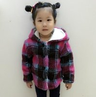 Wholesale 5t Warm Winter Dresses - Baby Girls Winter Fashion Plaid Korean Girl Dress Children Warm coats Hoodie Outfits for 2-9Y Cotton Jacket Kids Clothing